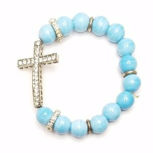 Jewelry - Blue Bead Gem Studded Cross Stretch Bracelet